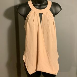 like new Bebe pink/coral v cutout pleated tank top